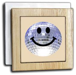 3dRose Silver Disco Ball Smiley Face - seventies 70s style D
