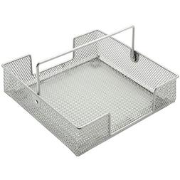Napkin Holder With Handle Silver Metal Mesh Basket - 7 1/2 L