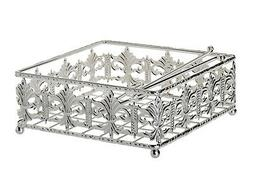 "Silver Plated Napkin Holder Filigree Design Square Base 8"" x"