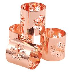 Juvale 4-Pack of Snowflake Christmas Holiday Napkin Rings -