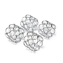 Feyarl Silver Napkin Rings Handcraft Sparkly Napkin Rings Cr