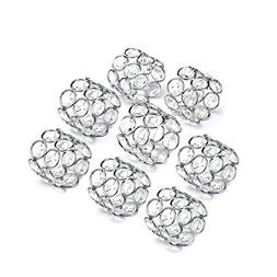 Feyarl Sparkly Napkin Rings Crystal Beads Napkin Holders 8pc