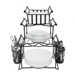 BisonHome Stackable Buffet Caddy Organizer  Modern Server fo