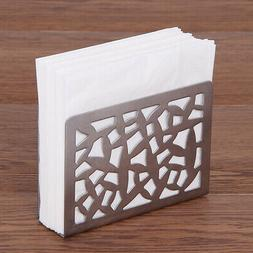 Stainless Steel Napkin Rack Box Tissue Holder Cutlery Hollow