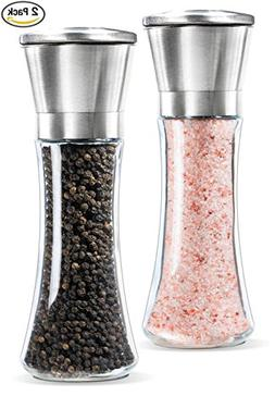 Premium Stainless Steel Salt and Pepper Grinder Set of 2 wit