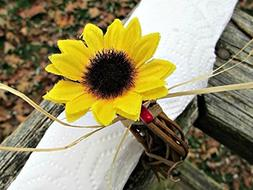 Sunflower, Red Berry and Straw Napkin Ring Holders for Fall