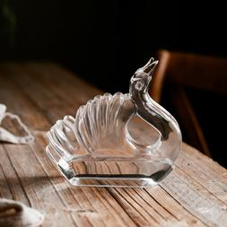 Swan Napkin holder, Clear, Glass, Tabletop Decor