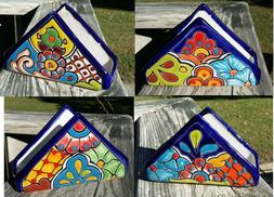 Talavera Ceramic Napkin Holder Mexican Hand Painted