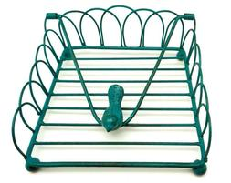 Teal Blue Distressed Square Iron Napkin Holder with Bird