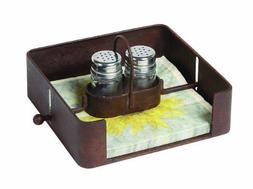 Creative Co-Op Tin Napkin Holder with Salt and Pepper Shaker