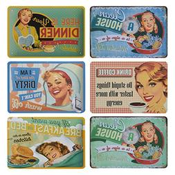 Juvale 6-Piece Tin Signs - Vintage Style Metal Signs As Wall