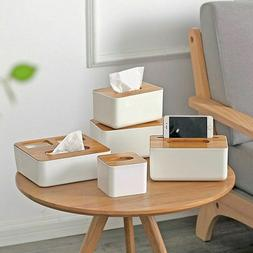 Tissue Box Dispenser Wooden Cover Napkin Paper Holder Paper