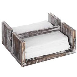 MyGift Torched Wood Napkin Holder Tray with Center Bar Weigh