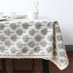 Tree Table Cloth Decorative Coffee Table Cover Cotton Linen