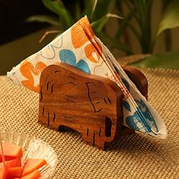 ExclusiveLane 'Elephants' Trunk Down' Hand Carved Napkin Hol