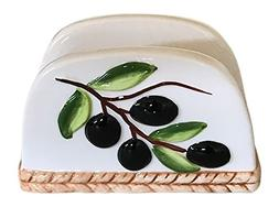 Tuscan Olive Design Napkin Holder