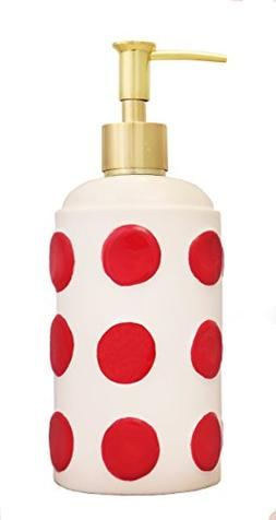 Tuscany 3D Red Dots, Hand Painted Ceramic Lotion Jar/Soap Di