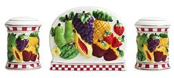 Tuscany Colorful fruit with Trim Dots Ceramic Napkin Holder,