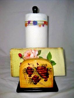 Tuscany Grape Ceramic Counter top Paper Towel Holder and Nap