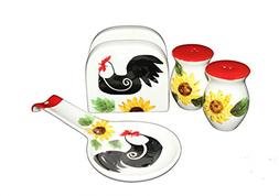 Tuscany Red White Sunflower Rooster Hand Painted, 4pc Stove
