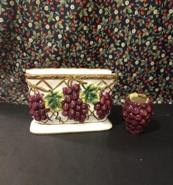 VINTAGE CERAMIC GRAPE NAPKIN and TOOTHPICK HOLDER