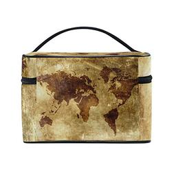 Vintage Old World Map Portable Travel Makeup Cosmetic Bags T