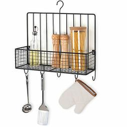 MyGift Wall-Mounted Metal Wire Spice Rack with 5 Utensil Hoo