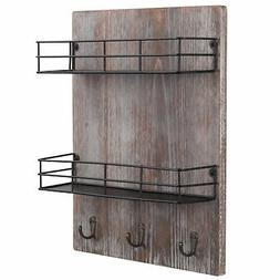 MyGift Wall-Mounted Rustic Torched Wood Spice Rack with 3 Ut