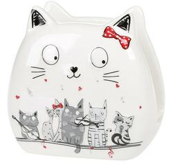 White Ceramic Napkin Holder with Cats Decal by Bona Di Night
