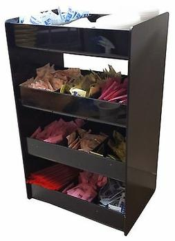 Wide Coffee Condiment Organizer Rack with 4 Shelves and 12 C
