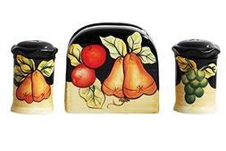 Winter Fruit Salt and Pepper Shakers with Napkin Holder by A