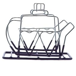 Wire Napkin Holder, Purple Coated Steel with Teapot Design N