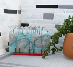 Wire Napkin Holder Red Coated Steel w/Spoon, Fork, & Knife C