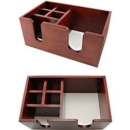 Wooden Bar Top Napkin Straw Caddy - 6 Compartments - Brown C