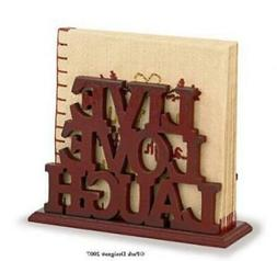 "Park Designs Word Play Red Wood Luncheon Napkin Holder ""Live"