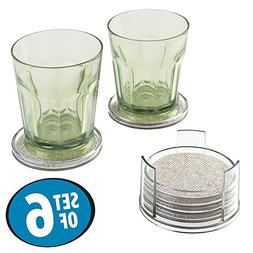 mDesign Woven Textured Decorative Drink Coasters with Holder