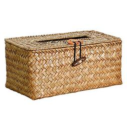 Woven Tissue Box Cover - Decorative Woven Seagrass Refillabl